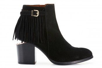 WOMEN LEATHER ANKLE BOOTS WITH FRINGES